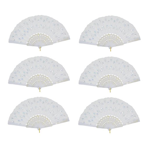 6 Packs White Spanish Floral Folding Hand Fan Women Lace Fan Handheld Fans for Wedding and Home Decoration]()