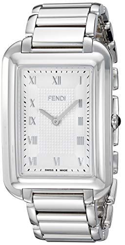 Fendi Men's 'Classico Rect' Swiss Quartz Stainless Steel Dress Watch, Color:Silver-Toned (Model: F701016000)
