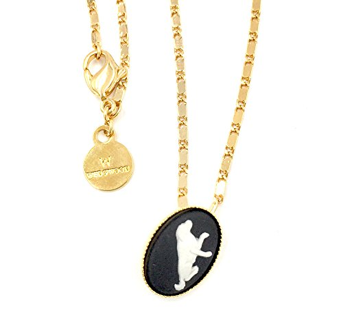 Wedgwood Authentic Cameo in Gold Plate Pendant Setting - Dog on Black