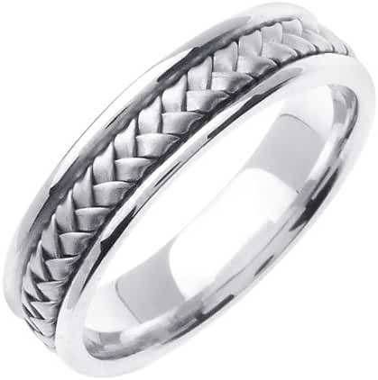 14K White Solid Gold Hand Braided Wedding Ring Band for Men (Sizes 9 - 14)