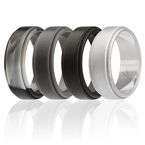 ROQ Silicone Wedding Ring for Men, 4 Pack Silicone Rubber Band Step Edge - Black, Grey, Black Camo, Silver - Size 8