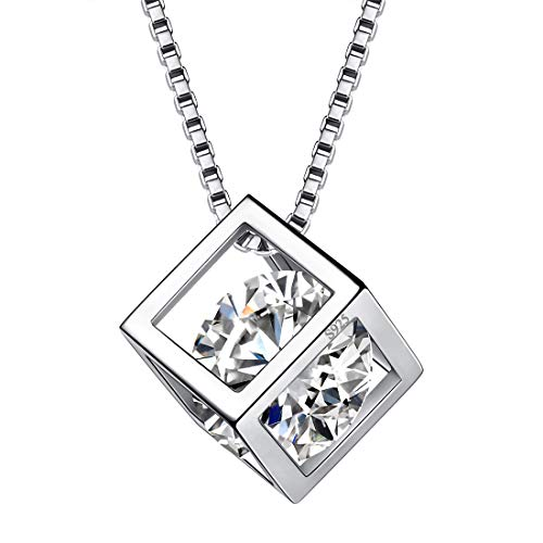 Aurora Tears April Birthstone Necklaces Women 925 Sterling Silver Crystal 3D Cube Birth Stone Pendant Cubic Zirconia Apr. Birthday Pendant Girls Charm Dating Jewelry DP0028W ()