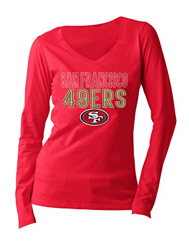 NFL San Francisco 49ers Women's Long Sleeve V Neck Jersey, Medium, Red