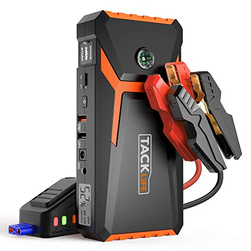 TACKLIFE T8 800A Peak 18000mAh Car Jump Starter (up to 6.5L Gas, 5.5L Diesel engine) with LCD Screen, USB Quick Charge, 12V Auto Battery Booster, Portable Power Pack with Built-in LED light (Best Gauges To Have In Your Car)