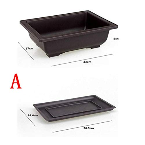 Bowl Planter - Flower Pot with Tray Balcony Square Flower Bonsai Bowl Nursery Basin pots Planter Imitation Plastic Rectangle Flower Pots