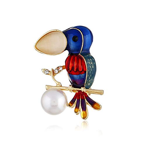 SKZKK Colourful Little Bird Enamel Lapel Pin Pearls Animal Broaches and Pins for Women Alloy Plating Jewelry Women's Accessories for Women Simple and Elegant