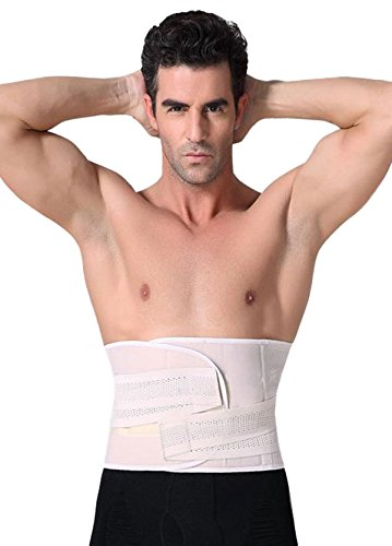 Panegy Men Weight Loss Waist Trainer Tummy Control Male Corset Abdominal Binders Back Support for Surgery Injury Recovery White Tag L/US M - Nylon Corsets