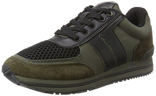 Calvin Klein Herren Estez Suede/Nylon/Smooth Sneaker, Blau Mehrfarbig (Cargo/Black)