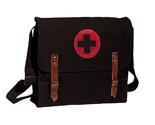 Black Vintage Army NATO Medic Shoulder Messenger Bag w/ Red Cross