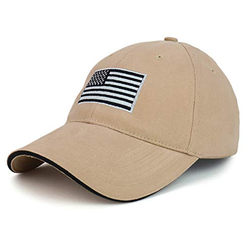 Armycrew Made in USA Structured Grey American Flag Embroidered Sandwich Bill Cap - Tan Black