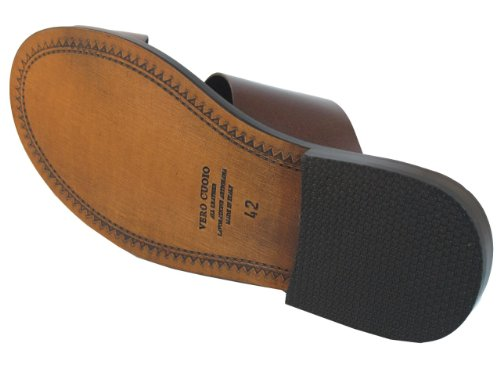 Mens Davinci Italienska Lädertryck Sandaletter 1099 Brun