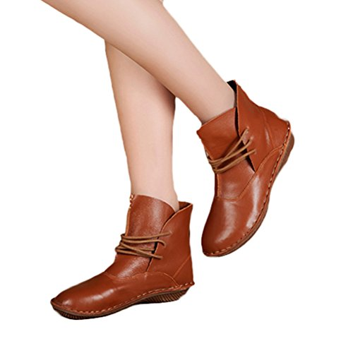 Mordenmiss Womens Leather Short Boots New Shoes Style 1-brown 7KbHi