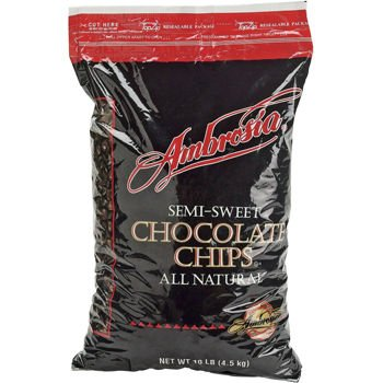 ADM Foodservice Ambrosia Semi-Sweet Chocolate Chips, 10 Pound - 1 each.