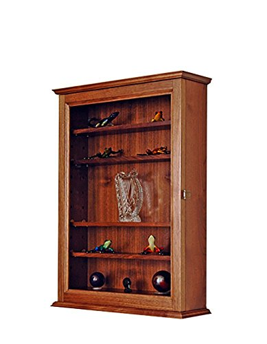 Walnut Curio Display Case Cabinet -