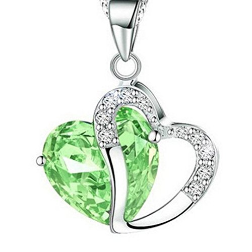 Mysky Rhinestone Necklace Fashion Hot Sale Luxury Women Heart Crystal Silver Chain Jewelry (Green, alloy) (Green Jade Crucifix)
