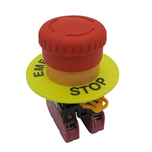 - TWTADE / 22mm 2 NC Red Mushroom Latching Emergency Stop Push Button Switch 10A 600V (Warranty 3 years) YW1B-V4E02R