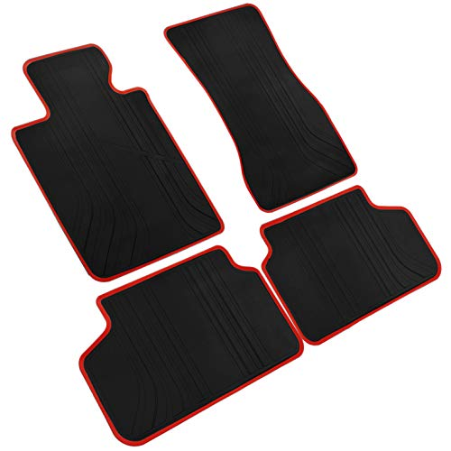iallauto All Weather Floor Liners Custom Fit BMW 5 Series 2017 2018 2019 520i 530i 540i (G30/G31) Heavy Duty Rubber Car Mats Vehicle Carpet Odorless-Black Red