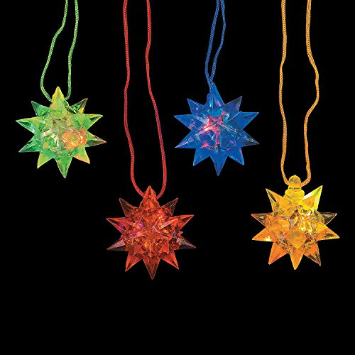 Fun Express - Flashing Star Ball Necklaces - Jewelry - Necklaces - Light Up Necklaces - 12 Pieces