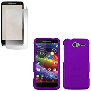 iFase Brand Motorola Electrify M XT901 Combo Rubber Purple Protective Case Faceplate Cover + LCD Screen Protector for Motorola Electrify M XT901