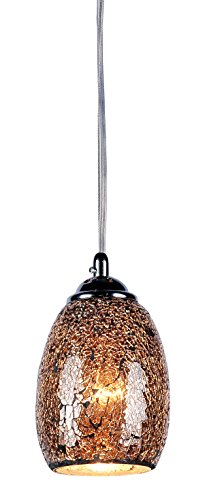 Chloe Lighting CH3GY16DC05-DP1 Melia Mosaic 1-Light Ceiling Grey Mini Pendant with 4.8-Inch Shade