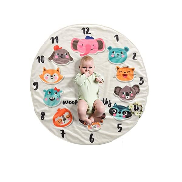 Simpurity Baby Round Milestone Blanket Rugs Plush Fleece Swaddling Blanket Milestone Blanket Shower Gift Monthly Milestone Blanket (Ship 37.5 x 37.5 in) (Animals)