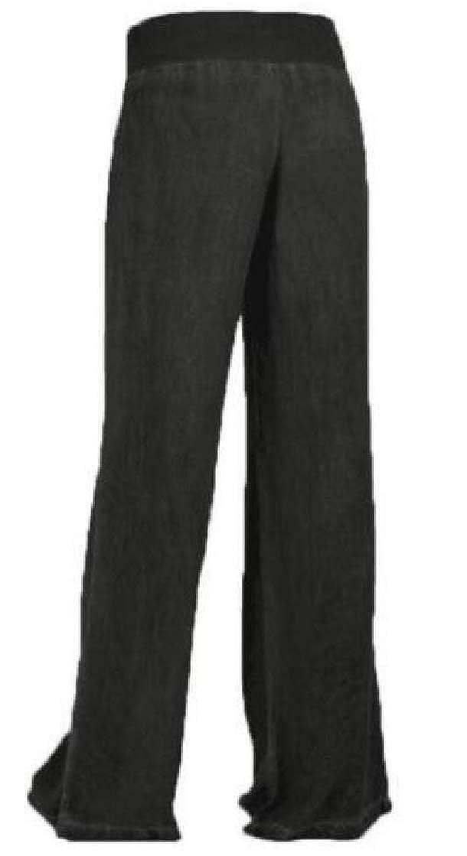KLJR Women Stretchy High Waist Denim Casual Wide Leg Palazzo Pants