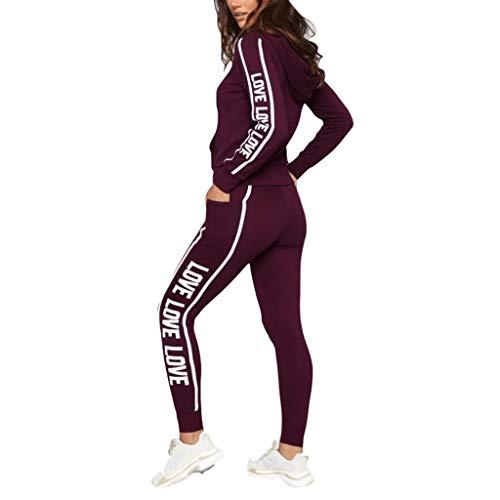 (Women Tracksuit Sets 2 Pieces Outfits Stripe Long Sleeve Zipper T-Shirt Tops and Long Pants Set Sweatshirt (Red2, M))