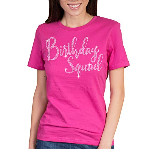 Birthday Squad Rhinestone T-Shirt - Birthday Squad Shirts for Women - Small Magenta Tee