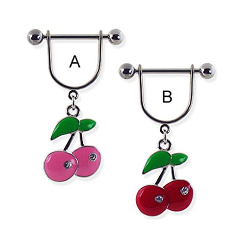 MsPiercing Nipple Ring With Dangling Cherries With Gems, Red - (Dangling Cherry)