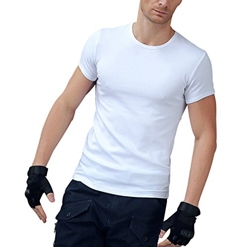 M-LORD (TM) Mens Jogger Gym Crew Neck Tee Breathable Short Sleeve T-Shirt White XS