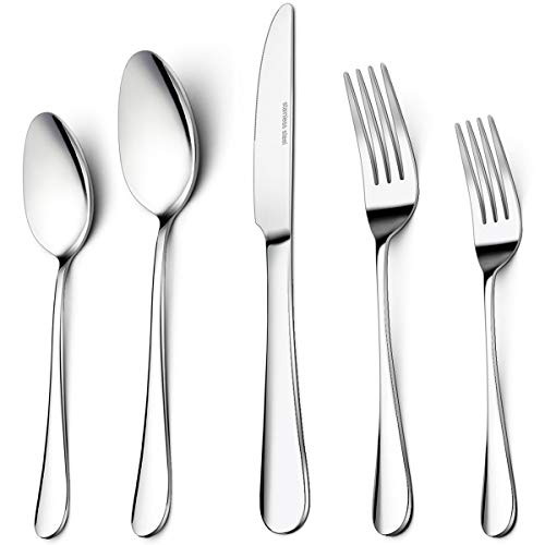 40-Piece Silverware Set, Umite Flatware 18/8 Cutlery Set Fit for Home/Hotel/Restaurant, Service for 8, Mirror Polished, Anti-rust, Dishwasher Safe