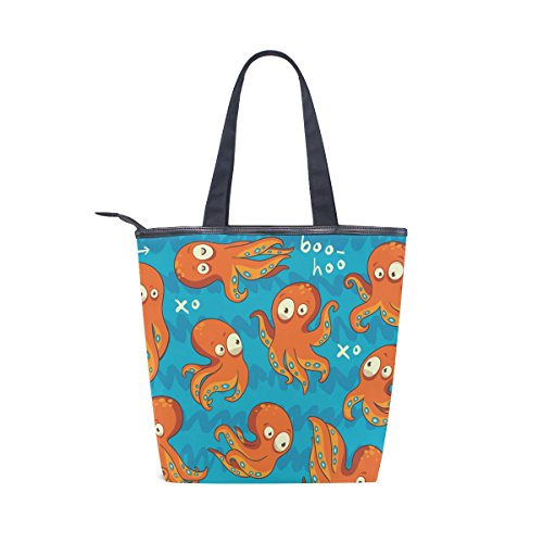 Funny Tote Octopus Bag Handbag MyDaily Canvas Cartoon Shoulder Womens Xqwxz4