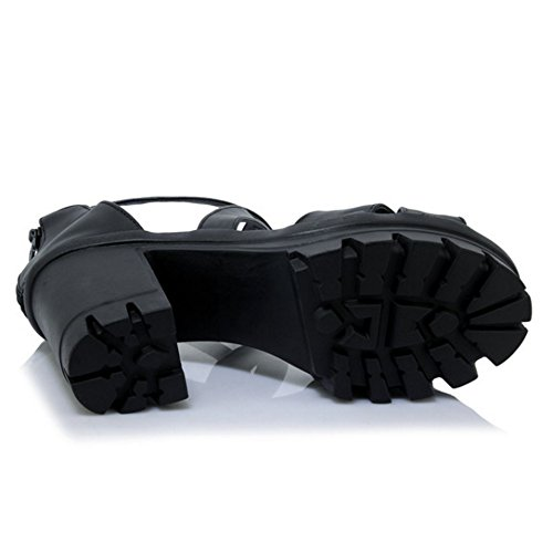 RAZAMAZA Mujer Plataforma Tac¨®n Grueso Sandalias Cross Strap Chunky Tacones Zapatos Blanco