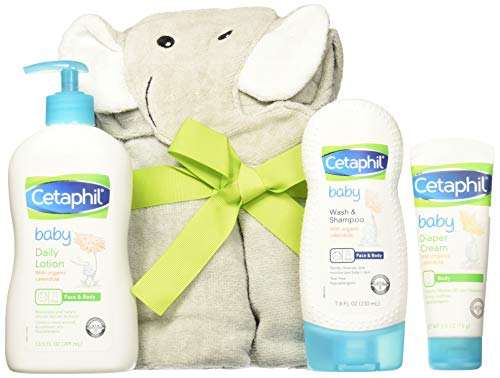 Cetaphil Baby Sensitive Skin Bath Time Essentials Gift Set with Elephant Hoodie Towel (Cetaphil Baby Wash And Shampoo With Organic Calendula)