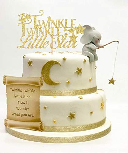 LaVenty Glittery Twinkle Twinkle Little Star Party Decoration Twinkle Twinkle Little Star Cake Topper Star Cake Toppers for Baby Shower Birthday Party Decorations