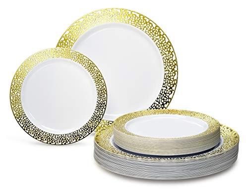 """ OCCASIONS"" 50 Piece Wedding Party Premium Disposable Plastic Plates Set - 25 x 10.25"