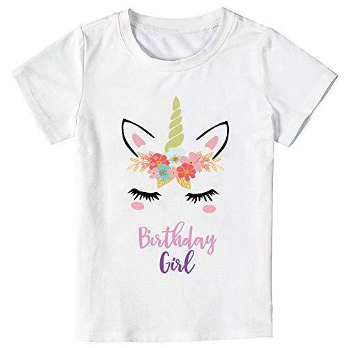 Unicorn Birthday T-Shirt, Unicorn Outfit Gifts for Girls (6-7 Years) White