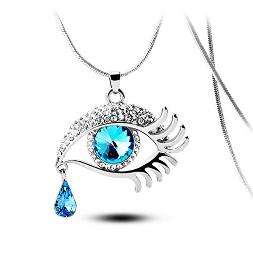Angel's Tears Gold Plated Eye Shape Austrian Crystal Pendant Necklace for Womens in Fashion Jewelry Austrian Crystal Angel Necklace
