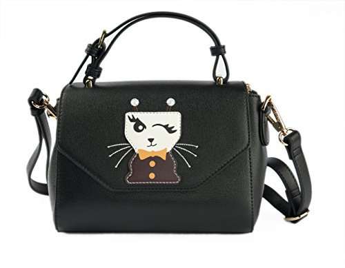 PLOVER:Realer Women's Handbag Tote Purse Shoulder Bag Pu Leather Fashion Top Handle Designer Bags for Ladies (Black) by PLOVER