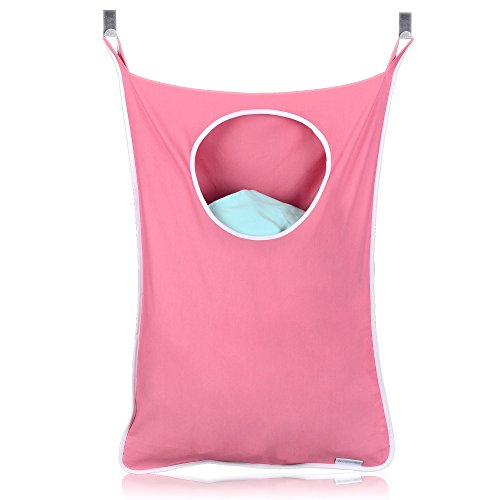 SuperMom Over The Door Hanging Laundry Hamper with Stainless-Steel Hooks - Large Size - Pink (Over Hamper The Clothes Door)