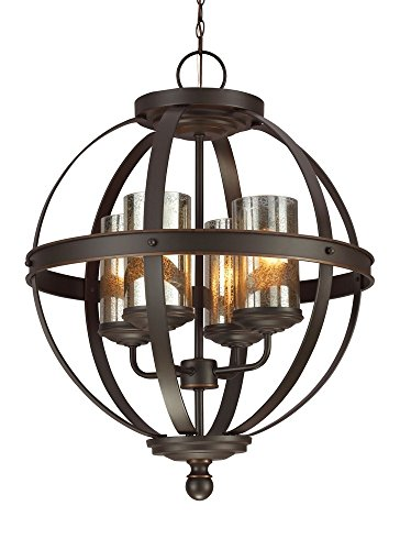 Sea Gull Lighting 3110404-715 Sfera Four-Light Chandelier with Mercury Glass, Autumn Bronze Finish - DIMENSIONS OF 4-light chandelier: canopy (diameter x height) 5.5 x 1.25 inches; chain 144 inches; frame (diameter x height) 18.5 x 24.5 inches; highest possible height setting 164.25 inches TRANSITIONAL STYLE CIRCULAR CHANDELIER LIGHTING: having a round frame with dark bronze finish, the Seagull 4 light chandelier is traditional meets modern, lending a sleek, timeless touch to a room CIRCULAR CHANDELIER WITH BEAUTIFUL MERCURY GLASS SHADES: the mercury glass shades of the Seagull large circular chandelier look beautifully artistic without obstructing illumination - kitchen-dining-room-decor, kitchen-dining-room, chandeliers-lighting - 41o%2B1xyr%2B L -