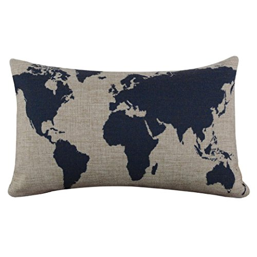 Vibola Burlap Linen Dark Blue World Map Decorative Cushion Cover Pillow Case (Little Girl Says No Thanks On Halloween)