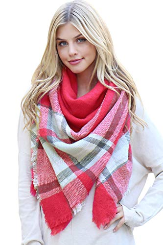 (MYS Collection Plaid Check Lightweight Soft Circle Infinity Scarf - Women's Tartan Pattern Soft Blanket Scarves (Blanket - Hot Pink),One Size)