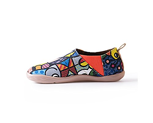 UIN Women's Charming Cat Colorful Painted Canvas Slip-On Shoe Multicolor (39)