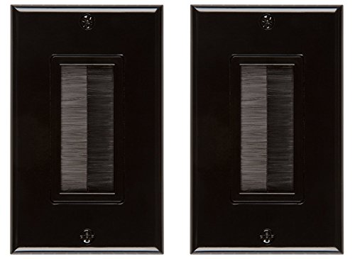 Buyer's Point Brush Wall Plate, Decora Style, Cable Pass Through Insert for Wires, Single Gang Cable Access Strap, Wall Socket Plug Port for HDTV, HDMI, Home Theater Systems and More ((2 Pack) Black)