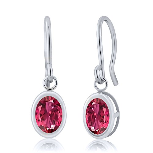 Gem Stone King 1.70 Ct Oval Pink Tourmaline 925 Sterling Silver Frenc Wire Dangling Earrings