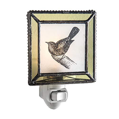 J Devlin NTL 119-2 Bird Night Light Stained Glass Decorative Night Lite Frosted Glass with Moss Green Trim
