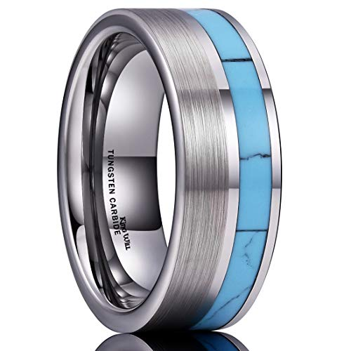 Titanium Bands Turquoise - King Will Nature Tungsten Carbide Wedding Band 8mm Silver Brushed Ring with Turquoise Inlay Comfort Fit(12)