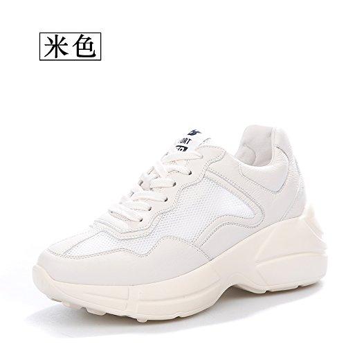 QQWWEERRTT Zapatos de Moda para Mujer Zapatos Deportivos Salvajes Verano Nuevo Malla Inferior Gruesa Zapatos para Hermana Suave Ocasional Blanco crema