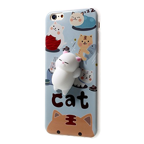 Squishy Case for iPhone 5s / iPhone SE/iPhone 5, 3D Animal Seal Cat Pinch Relaxing Venting Pressure-Relief Toy Soft Silicone Phone Back Cover for iPhone 5s SE 5G (Tiger Cat) ()